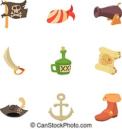 Corsair icons set, cartoon style