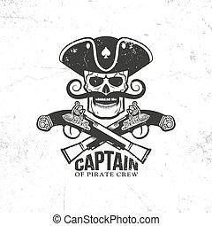Corsair, pirate logo, Jolly Roger with skull, crossed...