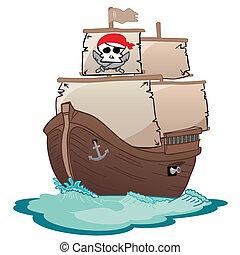 Corsair sailboat - Pirate ship sailing on waves