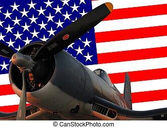 corsair aircraft against the american flag background