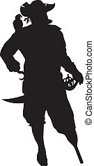 Corsair. Warriors Theme - Pirate with parrot detailed vector...