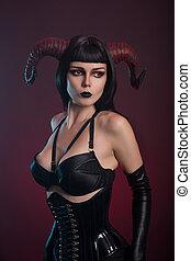 corset, démon, gants, séduisant, portrait, girl, noir