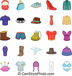 Corset icons set, cartoon style
