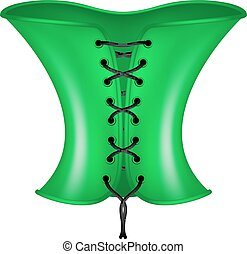 Corset in green and black design