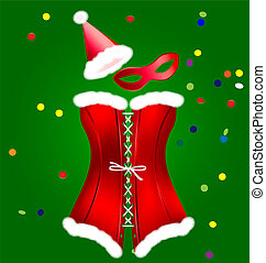 corset of New Year - on a green background is a big red...