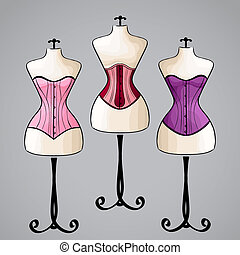 Corset on female mannequin - Corsets on classic vintage...