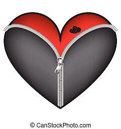 Corset with zipper red heart