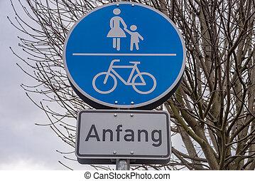corsia, bicicletta, segno, inizio, sentiero, strada
