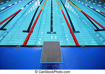 corsia, centro, piattaforma, uno, inizio, stagno, nuoto