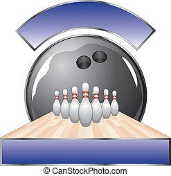 corsia, disegno, sagoma, bowling