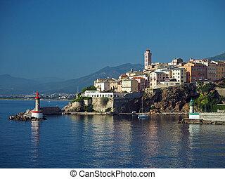 Corsica Bastia port town - gate lighthouses