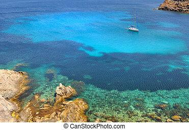 Corsica island - beautiful blue sea with ship - Corsica