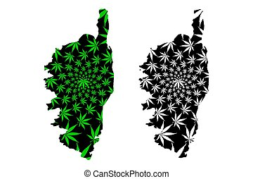 Corsica - map is designed cannabis leaf