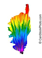 Corsica - map is designed rainbow abstract colorful pattern