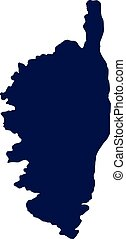 Corsica map silhouette