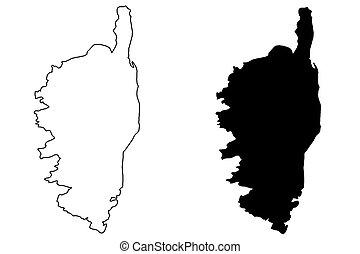 Corsica map vector illustration, scribble sketch Corsica