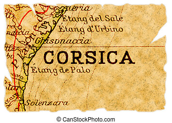 Corsica old map - Corsica or Corse, France on an old torn ...