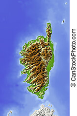 Corsica. Shaded relief map. Colored according to elevation. Includes clip path for the land area. Projection: Mercator Extents: -16.0/-15.2/27.6/28.35