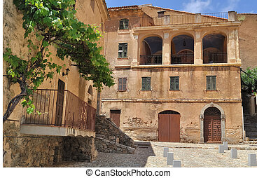corsica village - Balagne - place of an ancient village with...