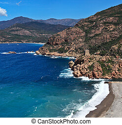 Corsica west coast calanches of Scandola near Porto