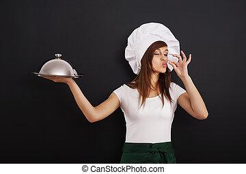 corso, giovane chef, raccomandare, femmina, principale, cottura