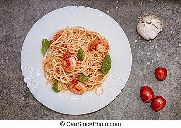 corso, italiano, pomodoro, luce, cuisine., sano, servire, basilico, salsa, piastra, fresco, principale, spaghetti, shrimps.
