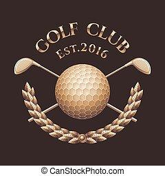 corso, vettore, bastone da golf, logotipo