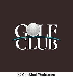 corso, vettore, bastone da golf, segno