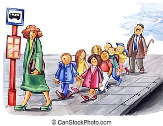 cortés, niños, en, parada de autobús