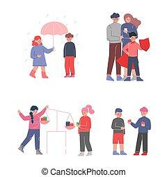 cortés, proteger, conjunto, compartir, clase, otro, familia...