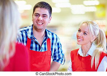 cortés, supermercado, personal, sirve, cliente