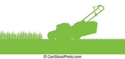 cortacésped, resumen, ilustración, campo, corte, tractor, ...