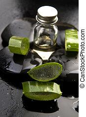 cortado, aloe, folhas, com, óleo, ligado, a, pedra