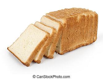 cortado, branca, isolado, pão