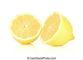 cortado, branca, limão, isolado