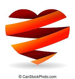 cortado, coração, vermelho