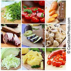 cortado, diferente, vegetales