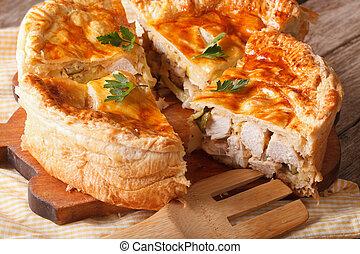cortado, galinha, torta, close-up, ligado, a, tabela., horizontais