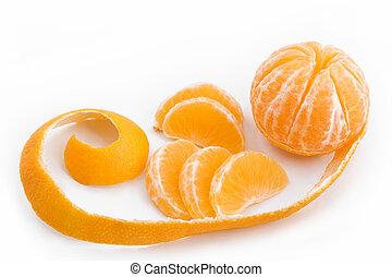 cortado, mandarin, descascado, pele