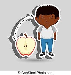 cortado, menino, fruta, caricatura, maçã