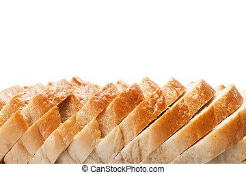 cortado pão fatias, fundo, com, espaço cópia
