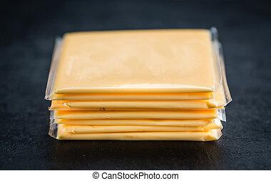 cortado queijo fatias, (selective, focus)