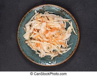 cortado, sauerkraut., escabechado, ser, salmuera, col, tiene