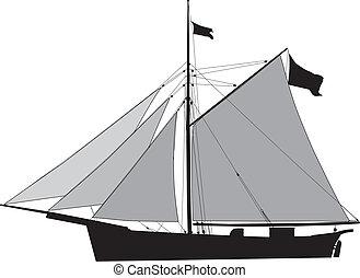 cortador, carga, velero