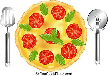 cortador, espátula, pizza, italiano