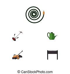 cortador, plano, césped, conjunto, jardín, elements., dacha...
