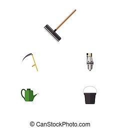 cortador, plano, conjunto, rastrillo, elements., dacha, ...