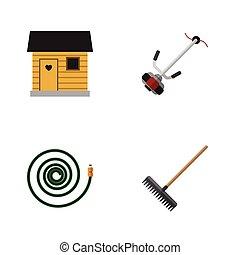 cortador, plano, conjunto, stabling, elements., dacha, manga...