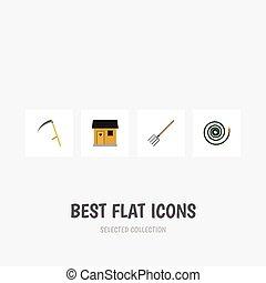 cortador, plano, conjunto, stabling, tenedor, elements., ...