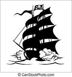 cortador, vector, brigantine, bandera, debajo, roger alegre, negro, barco, pirata, ilustración, galeón